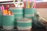 Washi Tape to re-purpose your old food cans or any aluminum can. Thrifty project! #washitapecraft #washitapecans
