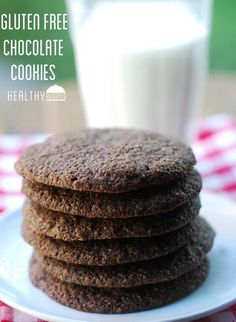 Gluten free chocolate cookies. Crisp on the outside, chewy on the inside, with a deeply chocolaty flavor.