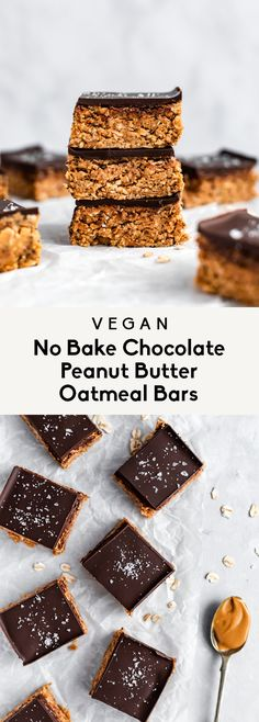 Vegan no bake chocolate peanut butter oatmeal bars made with simple ingredients. They're healthy, gluten free and make the best easy snack or dessert! Peanut Butter Protein Bars, Peanut Butter Granola, Healthy Peanut Butter, Natural Peanut Butter, Healthy Baking, Chocolate Peanut Butter, Healthy Snacks, Heathy Treats, Healthy Bars