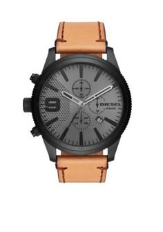 Diesel Men's Diesel Men's Brown Leather Chronograph Dial Watch - Brown - One Size