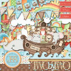 Two By Two Digital Scrapbook Kit  Digital by JssScrapBoutique, $4.99