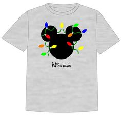 Disney Christmas Lights Mickey Family Vacation T shirt Customized with Name