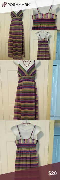 Cute striped maxi sundress Purple striped maxi dress with cross front and adjustable straps, elastic back and waistline, padded cups for comfort and no extra bra needed. Length is approximately 43 in from underneath the arm to hemline.  Size: XL by  She'sCool. She'sCool  Dresses Maxi