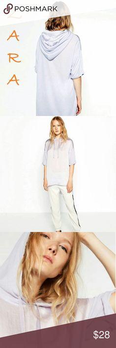 ZARA New Flowing Thin Sweatshirt Hoody Amazing design~ Elbow sleeves~ Hood with drawstring~ Asymmetric hem~ Contrast & wrinkle-free glossy fabric~ a little bit oversized~ Brand new with all tags! ZARA  Tops Sweatshirts & Hoodies