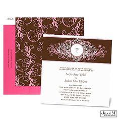 Layered Filigree Monogram Wedding Invitation - Salmon - Square