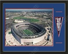 New York Giants MetLife Aerial View Large Stadium Poster-Framed With Team Mini Pennant