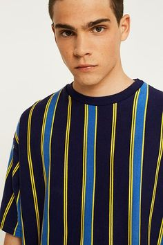 Explore Urban Outfitters latest selection of men's tops including jumpers, hoodies, sweatshirts and graphic tees. Check us out for the latest Urban fashion. Mens Capri Pants, Vertical Striped Shirt, Boys Shirts, Stripes Design, Fashion Sketches, Shirt Designs, Men Casual, Menswear, Mens Fashion