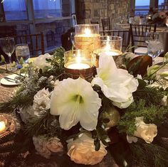 Rustic Christmas Centerpiece Rustic Garden Wedding, Rustic Gardens, Christmas Centerpieces, Rustic Christmas, Blue Wedding, Table Decorations, Winter, Flowers, Home Decor