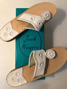 12bf7fe79 Jack Rogers Palm Beach Flat White Leather 9 Narrow New with Box  fashion   clothing