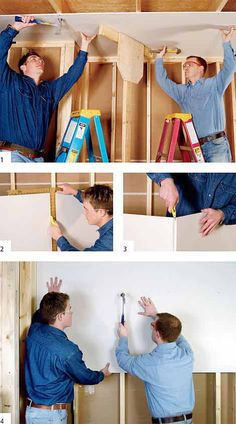 Drywall Made Simple: Buy, Install and Finish in 13 Easy Steps - Instandhaltung des Wohnraums Home Improvement Projects, Home Projects, Hanging Drywall, Drywall Repair, Patching Drywall, Drywall Finishing, Basement Finishing, Drywall Installation, Ceiling Texture