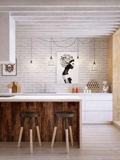 Dettagli industrial per questa cucina con mattoni a vista. Su www ...