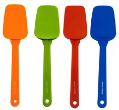 Silicone Kitchen Cooking Utensil Spoon Spatula Set - 10 X 2 Inch Set of 4 Asst Colors
