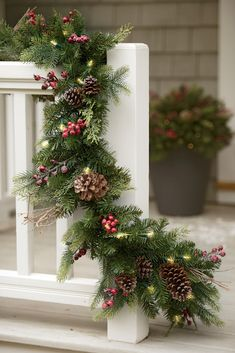 Northwoods Pre-Lit Garland from Gardene'rs Supply Outdoor Garland, Pre Lit Garland, Light Garland, Outdoor Christmas Decorations, Holiday Decor, Pine Garland, Christmas Decorations With Pinecones, Christmas Backdrop Diy, Coffee Table Christmas Decor