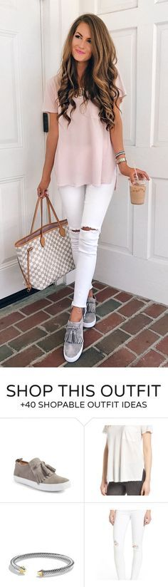 #summer #outfits Pink Top White Ripped Skinny Jeans Grey Pumps