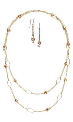 I think you need something simple. Double-Strand Necklace and Earring Set with Swarovski Crystal Beads and Gold-Filled Drops and Chain sfere swarovski
