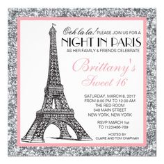 This Parisian Sweet 16 invitation featuring the Eiffel Tower with a silver glitter border is perfect for any Parisian themed party.
