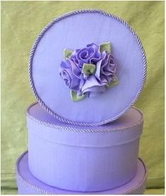 Fabric Covered Hat Boxes, Lav.Taffeta,  Roses,Pearls