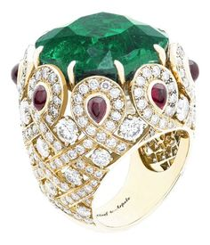 Van Cleff & Arpels emerald, diamond and ruby ring set in yellow gold