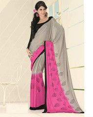 #Grey and pink #colour crape material #saree #saree looks #traditional but will give you a trendy and #western look.