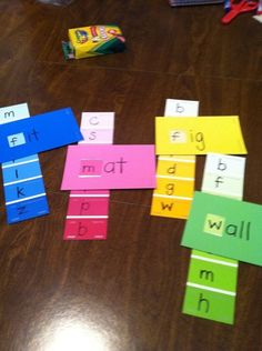"Word Families -Sight words and paint chips---Just cut a square ""hole"" for each of the beginning letters in each strip. Reading Skills, Teaching Reading, Fun Learning, Learning Activities, Reading Centers, Reading Practice, Kindergarten Literacy, Early Literacy, Literacy Bags"