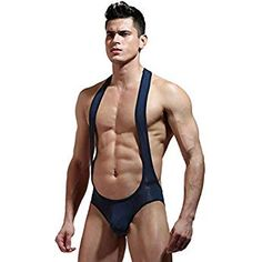 GLOGLOW Men Sexy Breathable Wrestling Singlet Lingerie Bodysuit Suspenders One Piece Underwear Briefs(L-Navy Blue)