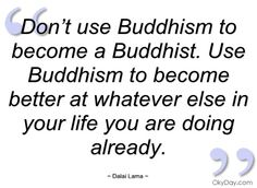 Don't use Buddhism to become a Buddhist - Dalai Lama - Quotes and sayings