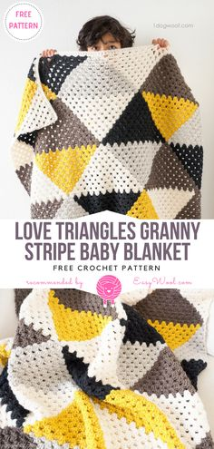 Love Triangles Granny Stripe Baby Blanket Free Crochet Pattern | EASYWOOL