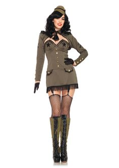 b62b3499e rmy Pin Up Girl Costume - Sexy and fierce this Army Costume has it all. Pin  Up Army Girl Adult Costume includes an green fringe trimmed gartered dress  with ...
