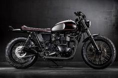 """Triumph Bonneville T100 Brat Style """"Steadfast"""" by MaccoMotors #motorcycles #bratstyle #motos   caferacerpasion.com"""