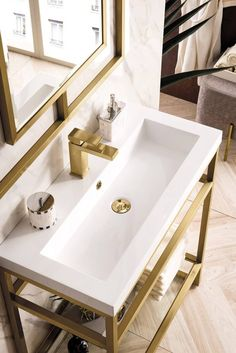 Plumbing Drains, James Martin Vanity, Resin Countertops, Console Sink, Hardwood Plywood, Small Space Solutions, Bathroom Furniture, Bathroom Sinks, Bathroom Ideas