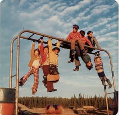 On the Monkey Bars with Ojibway friends in the North Ontario Old Pictures, Old Photos, Vintage Photos, School Memories, My Childhood Memories, Retro Toys, The Good Old Days, Vintage Photography, Back In The Day