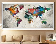 Large World Map Watercolor Push Pin Push pin travel world map
