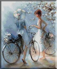 Bicycle Drawing, Bicycle Painting, Bicycle Art, Art Deco Cards, Romantic Paintings, Angel Art, Wall Art Pictures, Beautiful Artwork, Cartoon Art