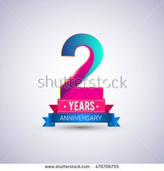 2 years anniversary logo, blue and red colored vector design