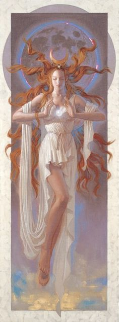 Selene is the Greek moon goddess. She is the daughter of the Titans Hyperion and Theia, and sister of the sun-god Helios and Eos, goddess of the dawn. Selene is associated with Artemis and Hecate, and all were regarded as lunar goddesses, although only Se Goddess Art, Moon Goddess, Luna Goddess, Artemis Goddess, Aurora Goddess, Air Goddess, Aphrodite Goddess, Goddess Of The Sea, Sacred Feminine