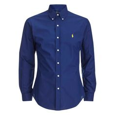 Polo Ralph Lauren Men's Long Sleeve Button Down Shirt - Soho Blue ($88) ❤ liked on Polyvore featuring men's fashion, men's clothing, men's shirts, men's casual shirts, chemise, men, shirts, blue, mens polo shirts and mens blue shirt