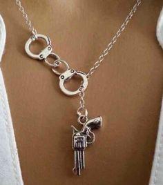 Lariat Handcuff Gun Necklace Pendants Vintage Silver Charms Collar Statement Choker Necklace Women Jewelry Gift DIY 12/1pcs Q993
