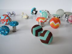 SALE 3 PACK-Fabric Covered  Modern Gauged Earrings Plugs Eyelets $30.60, via Etsy.