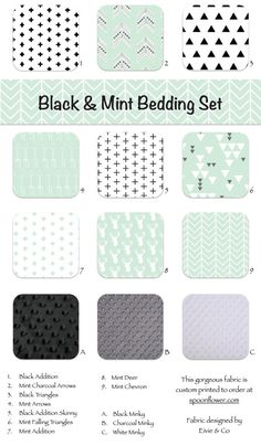 Mint Black White Crib and Toddler Nursery and Bedding Items - Crib Bedding Toddler Bedding Custom Bumpers Crib Skirt Changing Pad Blanket