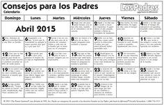 Calendario de Consejos para Padres – Parent pointers – Abril – April – 2015 | www.onlinefreespanish.com