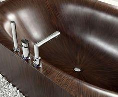 Bathroom, Excellent Glossy Wooden Laguna Pearl Bathtub With Modern Chrome Faucet White Stone Decor: Wooden Bathtub Design Bringing in Elegant Looks Wood Bathtub, Wooden Bathroom, Bathroom Tubs, Bath Tubs, Jacuzzi, Luxury Bathtub, Amazing Bathrooms, Contemporary Design, Modern Design