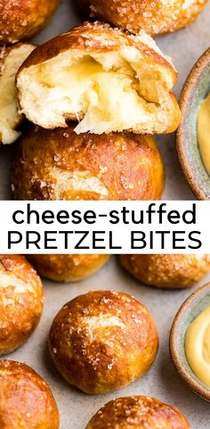 This cheese-stuffed soft pretzel bites recipe is the best! Homemade pretzel dough is wrapped around cheddar cheese, topped with sea salt and brushed with butter. Serve them as an appetizer, snack or on the side of your favorite bowl of soup. Homemade Pretzels, Soft Pretzels, Easy Appetizer Recipes, Yummy Appetizers, Snack Recipes, Dessert Recipes, Party Recipes, Recipes Dinner, Food Recipes
