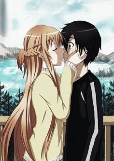 Cute sword art online asuna and kirito on We Heart It - Kirito and Asuna, one of the best anime couples. Sword Art Online Asuna, Manga Anime, Sao Anime, Schwertkunst Online, Online Anime, Online Dating, Best Anime Couples, Anime Couple Kiss, Sword Art Online Wallpaper