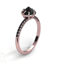14K Rose Gold Black Diamonds Modern Engagement Ring