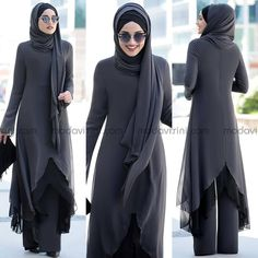 Havin Takım Füme - PNN1012  Fiyat Arab Fashion, Turkish Fashion, Muslim Fashion, Womens Fashion, Stylish Dress Designs, Designs For Dresses, Stylish Dresses, Hijabi Gowns, Hijab Abaya