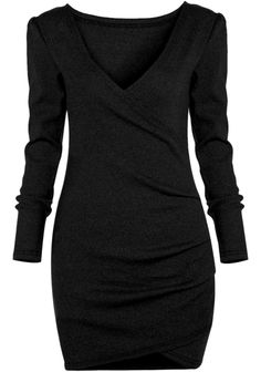 Black Deep V Neck Long Sleeve Bodycon Dress 15.33