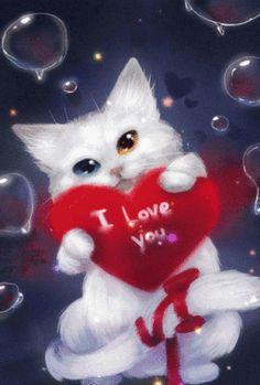 Imágenes de Gatos enamorados en movimiento Gifs