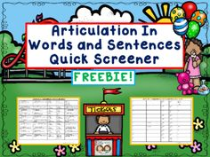 FREE! Speech Therapy: Word & Sentence Level Articulation Screener from Shanda from Shanda on TeachersNotebook.com (5 pages)  - What you will get with this download is our two page quick print articulation screener. It screens 52 sounds at the word and sentence level! Yes, sentence level too!