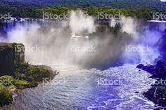 Devil's Throat at the Iguassu Falls between Brazil and Argentina. Niagara Falls, Vivid Colors, Brazil, My Photos, Royalty Free Stock Photos, America, Beach, Prints, Image