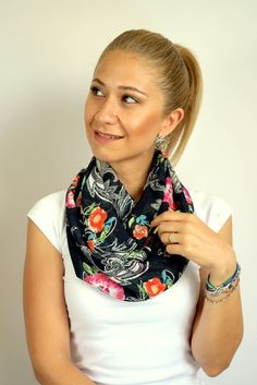 Chiffon scarf, Infinity scarf, pink orange blue flowers on the black, traditional patern, high quality chiffon fabric, gift ideas